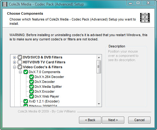 Click to view Codec Pack - Advanced 7.9.8 screenshot